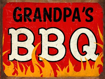 BBQ Grandpas by RetroPlanet art print