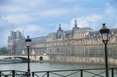 The Louvre Palace And Seine River by Cora Niele art print