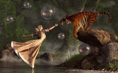 Surreal Tiger Bubble Water Dancer by Daniel Eskridge art print