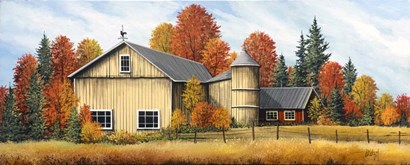 Yellow Barn Fall by Debbi Wetzel art print