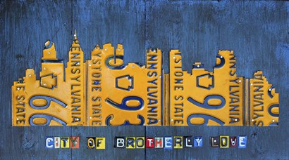 Philly Skyline License Plate Art by Design Turnpike art print