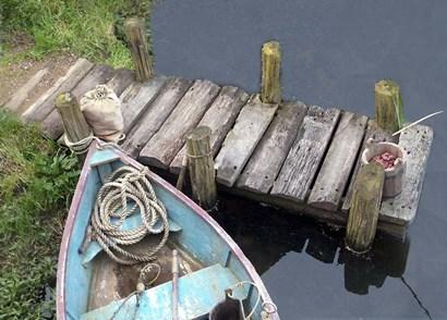 Docked Boat by Karen J. Williams art print