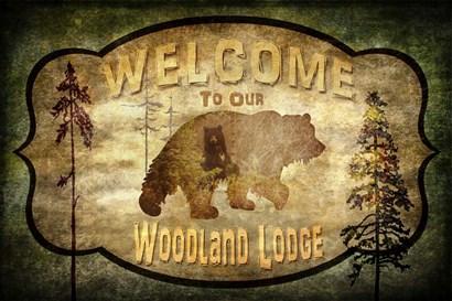 Welcome - Lodge Black Bear 1 by LightBoxJournal art print