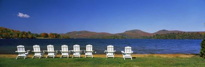 Adirondack Chairs at Blue Mountain Lake, Adirondack Mountains, New York State by Panoramic Images art print