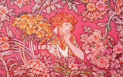 Mucha Woman Among Flowers Arch Vers by Vintage Apple Collection art print