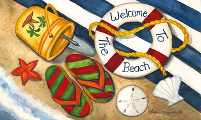 Welcome to the Beach by Laurie Korsgaden art print
