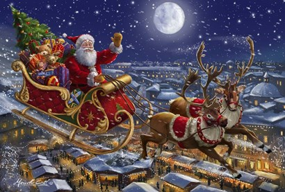 Santa Sleigh and Reindeer in Sky by Marcello Corti art print