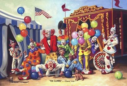 Ten Clowns by D. Rusty Rust art print