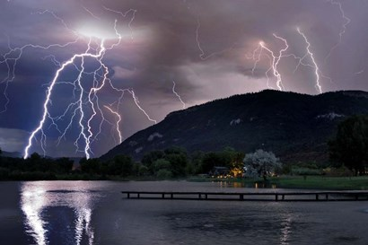 Lightning Campground by Mike Jones Photo art print