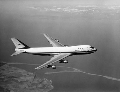 1960s Boeing 747 In Flight by Vintage PI art print