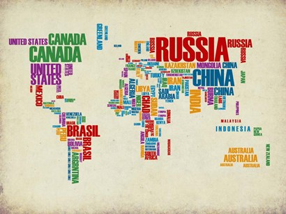 Typography World Map 3 by Naxart art print
