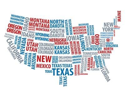Typography USA Map by Naxart art print