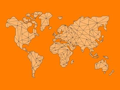 World Map Orange 1 by Naxart art print
