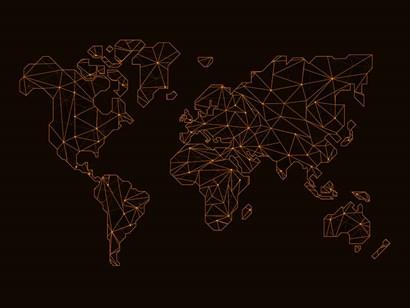 World Map Orange 3 by Naxart art print