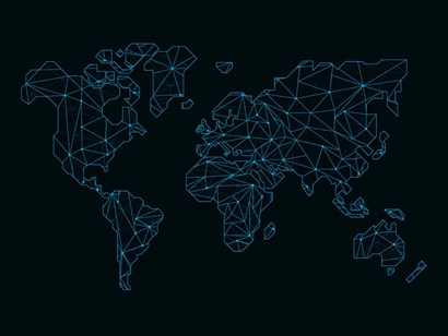 World Map Blue Wire by Naxart art print