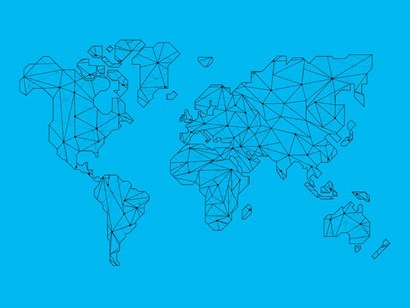 World Map Blue 1 by Naxart art print