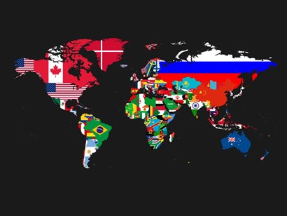 World Map Contry Flags 1 by Naxart art print