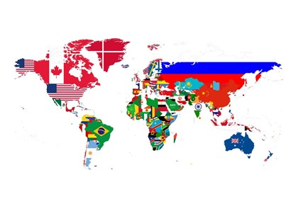 World Map Contry Flags 2 by Naxart art print