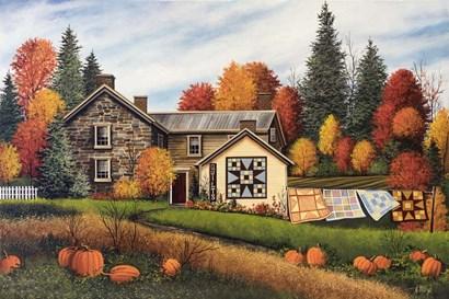 Pumpkins Fall Quilts by Debbi Wetzel art print