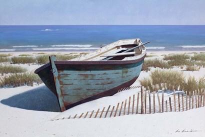 Blue Boat on Beach by Zhen-Huan Lu art print