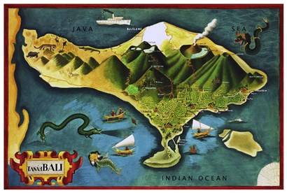 Bali Province Of Indonesia by Vintage Lavoie art print
