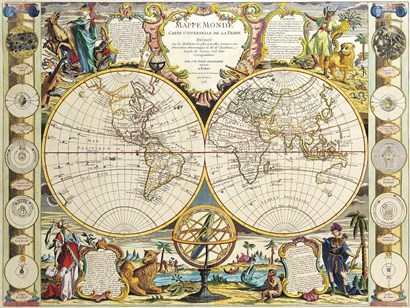 French Map Of The World 1755 by Vintage Lavoie art print