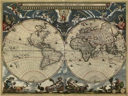 Map of the World by Blaeu 1684 by Vintage Lavoie art print