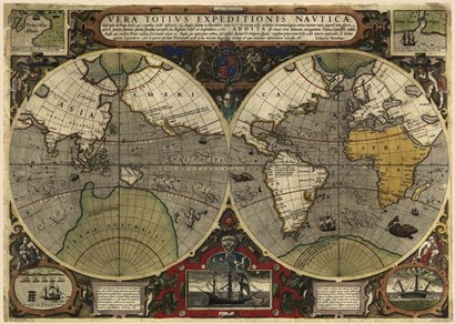 Hondius map of the World 1595 by Vintage Lavoie art print