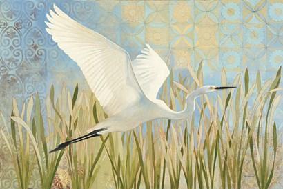 Snowy Egret in Flight v2 by Kathrine Lovell art print