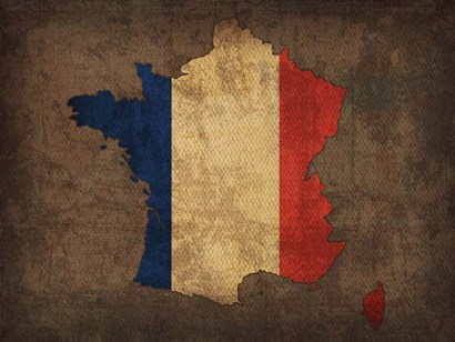 France Country Flag Map by Red Atlas Designs art print