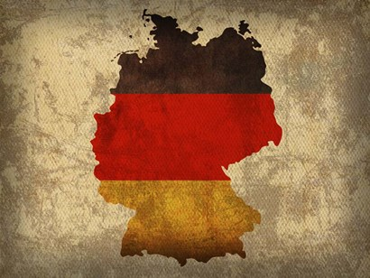 Germany Country Flag Map by Red Atlas Designs art print