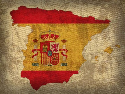Spain Country Flag Map by Red Atlas Designs art print