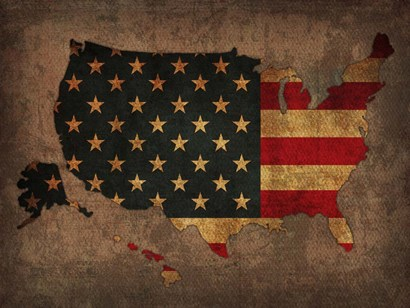 USA Country Flag Map by Red Atlas Designs art print