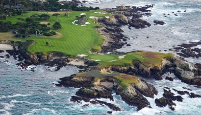 Golf Course on an Island, Pebble Beach Golf Links, California by Panoramic Images art print