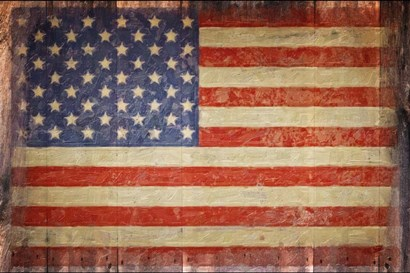 Vintage Flag on Barnwood by Graffitee Studios art print