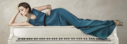 White Piano Lady by Sonya Duval art print