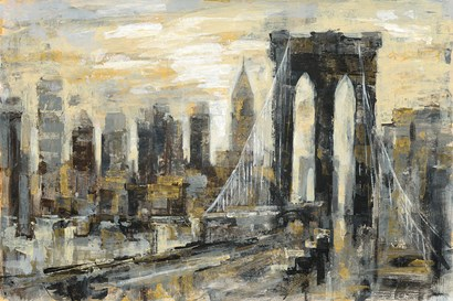 Brooklyn Bridge Gray and Gold by Silvia Vassileva art print