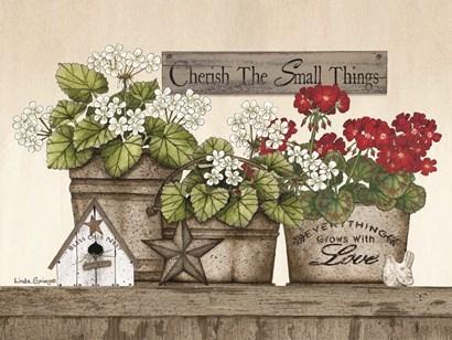 Cherish the Small Things Geraniums by Linda Spivey art print