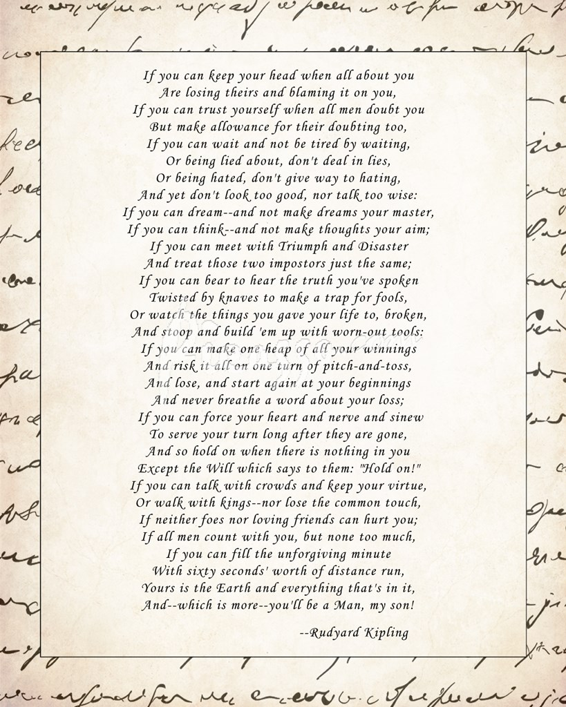 if by rudyard kipling essay if by rudyard kipling poster