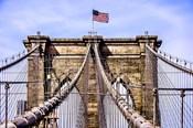 Brooklyn Bridge with Flag