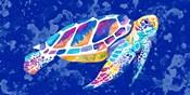 Vibrant Blue Sea Turtle