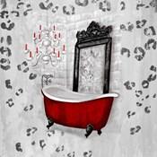 Red Antique Mirrored Bath Square II