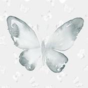 Grey Watercolor Butterflies I