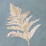Tan Leaf on Blue Square II