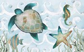 Watercolor Sea Creatures Panel (blue)