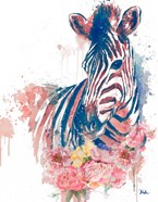 Floral Watercolor Zebra