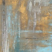 Gold Abstract on Teal