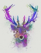 Deer Head 1 Rainbow Splash Pink and Purple