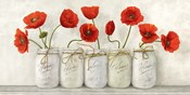 Red Poppies in Mason Jars