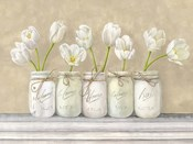 White Tulips in Mason Jars